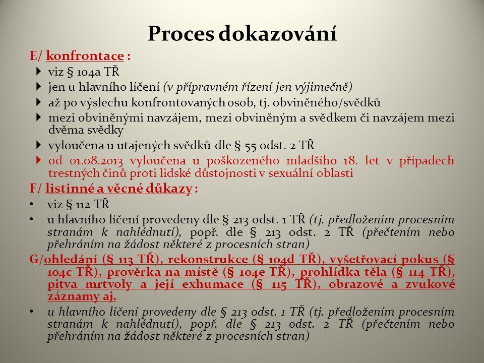 Proces dokazování E/ konfrontace : F/ listinné a věcné důkazy :