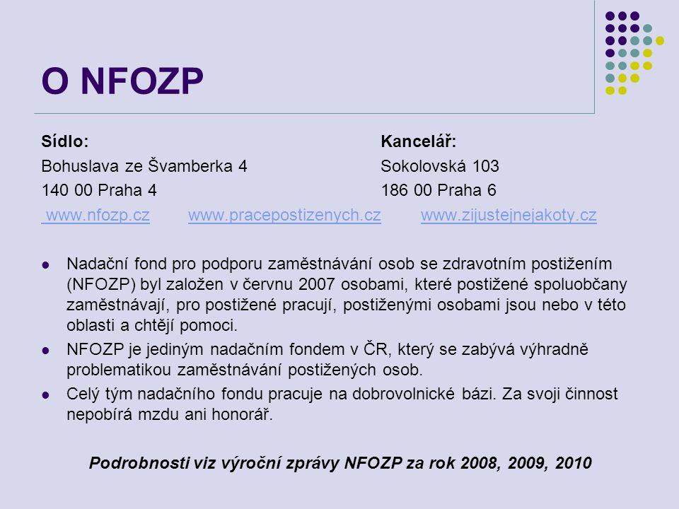 Podrobnosti viz výroční zprávy NFOZP za rok 2008, 2009, 2010