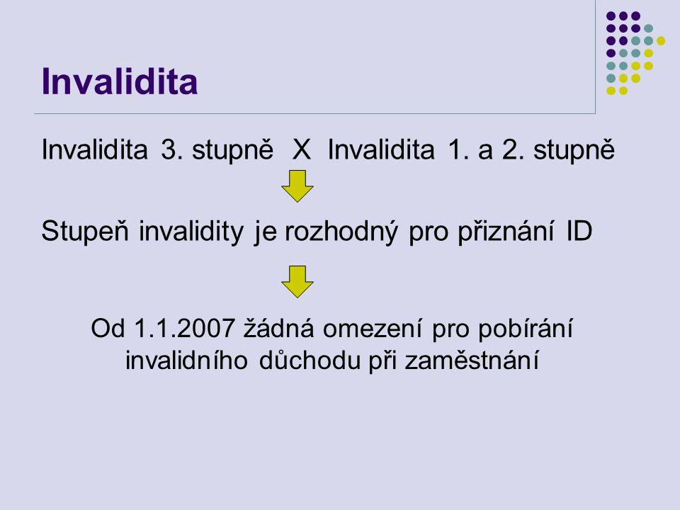 Invalidita Invalidita 3. stupně X Invalidita 1. a 2. stupně Stupeň invalidity je rozhodný pro přiznání ID