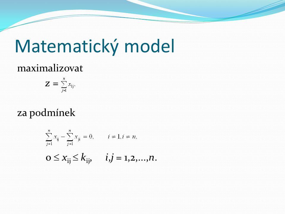 Matematický model maximalizovat z = za podmínek 0  xij  kij, i,j = 1,2,...,n.