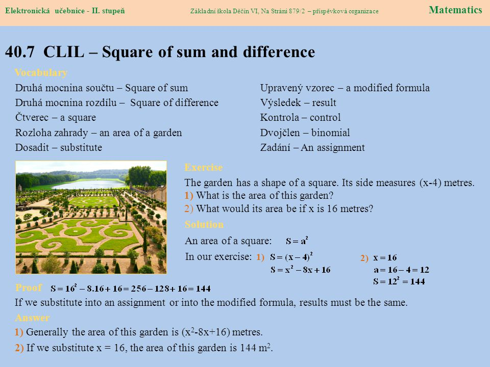 40.7 CLIL – Square of sum and difference