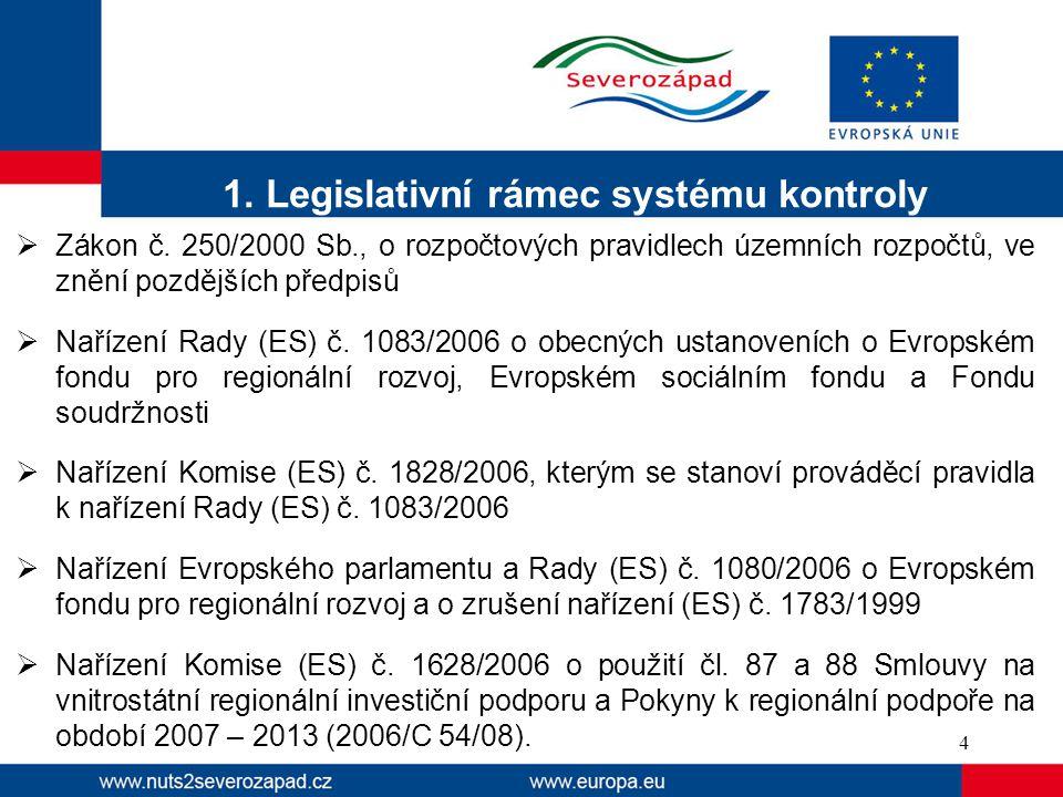 1. Legislativní rámec systému kontroly