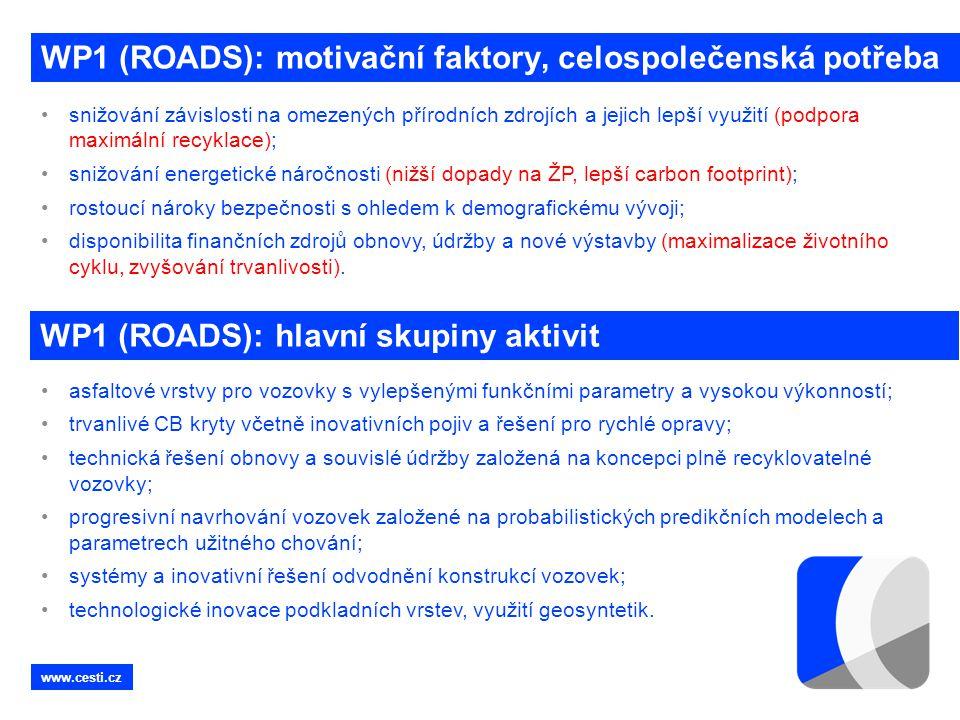 WP1 (ROADS): motivační faktory, celospolečenská potřeba