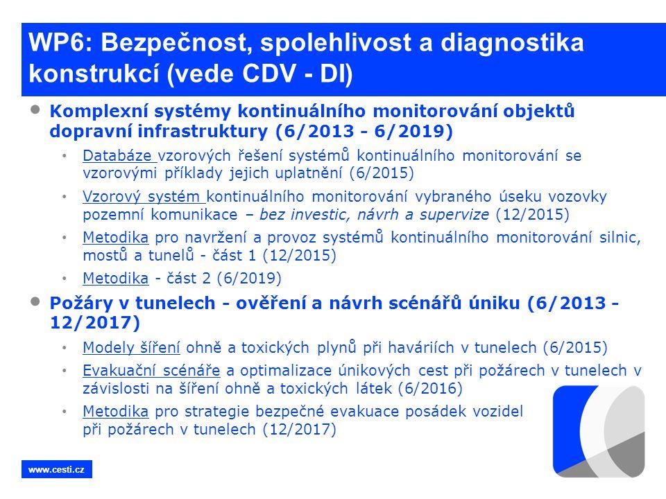 WP6: Bezpečnost, spolehlivost a diagnostika konstrukcí (vede CDV - DI)
