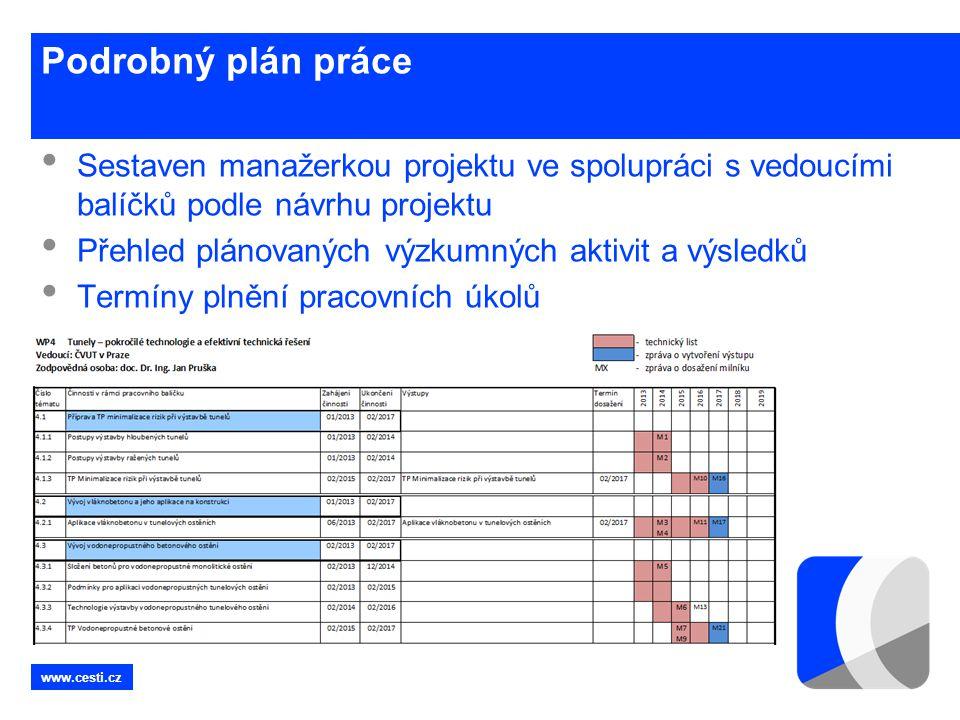 Podrobný plán práce Sestaven manažerkou projektu ve spolupráci s vedoucími balíčků podle návrhu projektu.