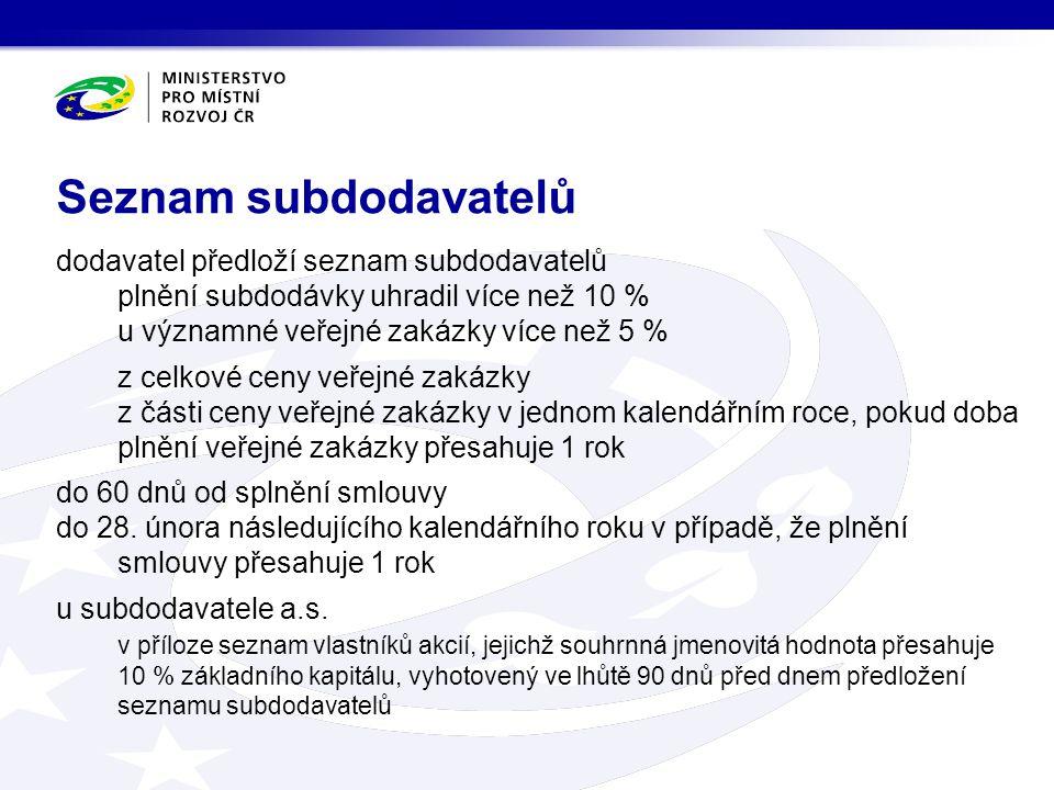 Seznam subdodavatelů