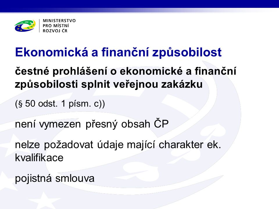 Ekonomická a finanční způsobilost