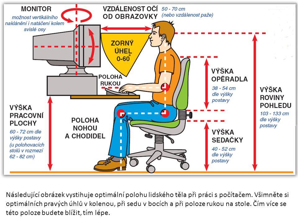 Následující obrázek vystihuje optimální polohu lidského těla při práci s počítačem. Všimněte si