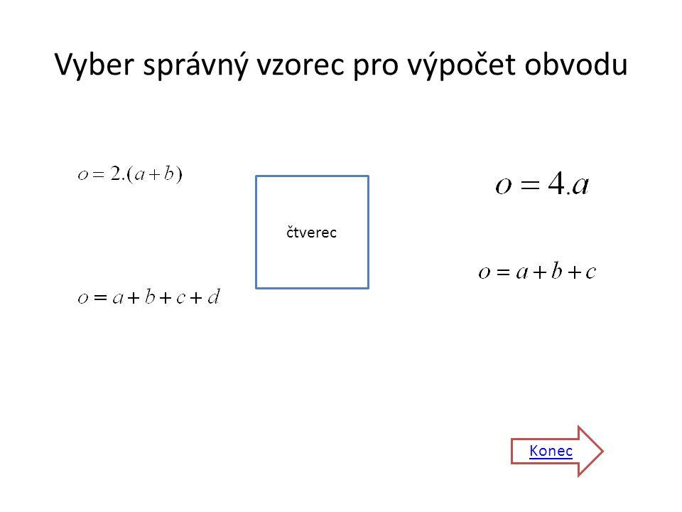 Vyber správný vzorec pro výpočet obvodu