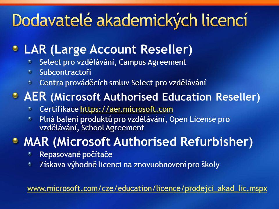 Dodavatelé akademických licencí