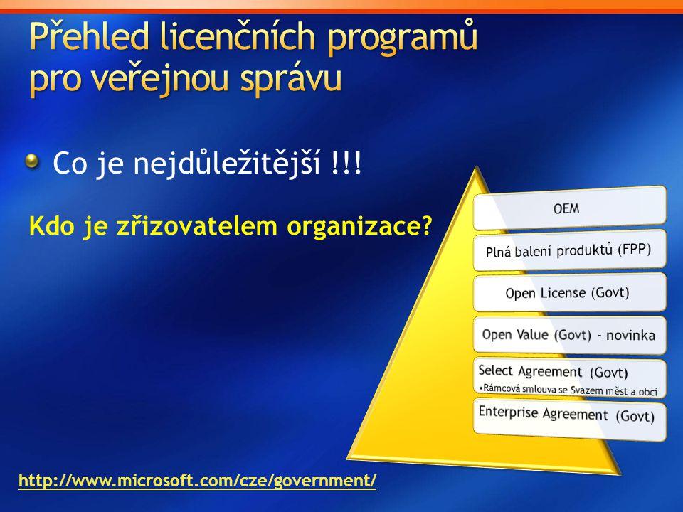 Přehled licenčních programů pro veřejnou správu