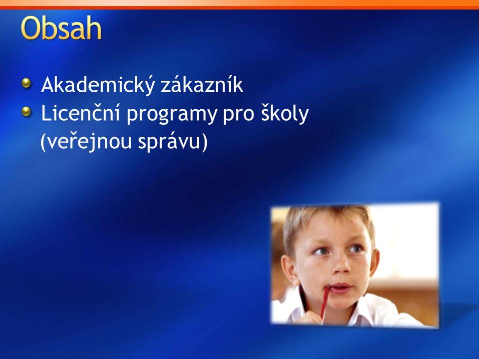 Obsah Akademický zákazník Licenční programy pro školy