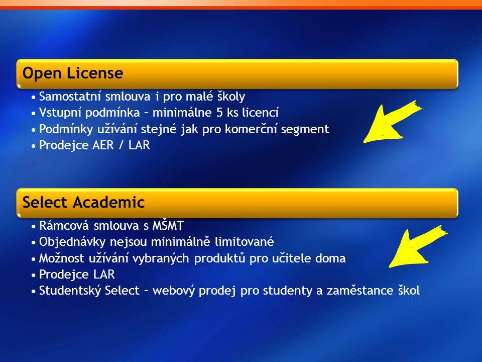 Open License Samostatní smlouva i pro malé školy. Vstupní podmínka – minimálne 5 ks licencí. Podmínky užívání stejné jak pro komerční segment.