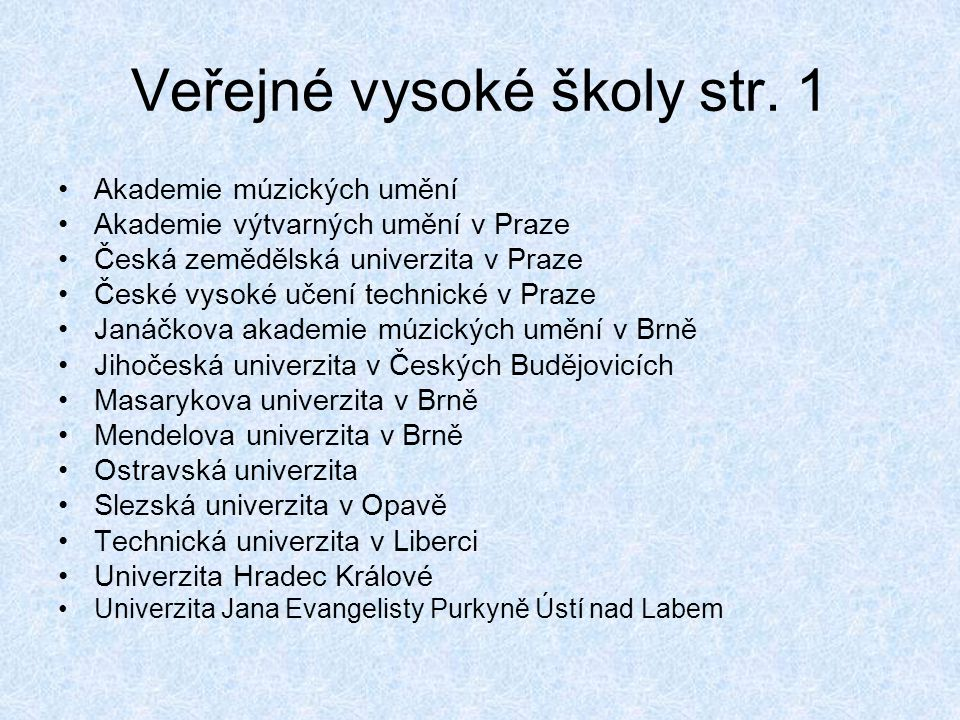 Veřejné vysoké školy str. 1