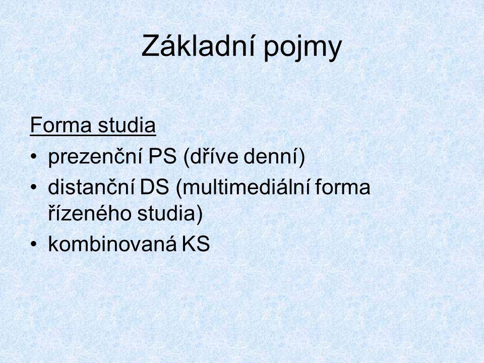 Základní pojmy Forma studia prezenční PS (dříve denní)