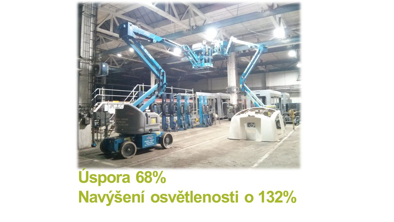Úspora 68% Navýšení osvětlenosti o 132%