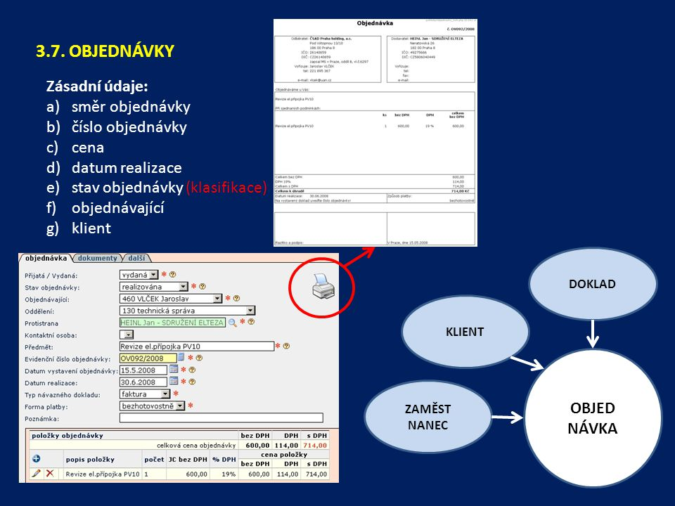 3.7. OBJEDNÁVKY Zásadní údaje: směr objednávky číslo objednávky cena