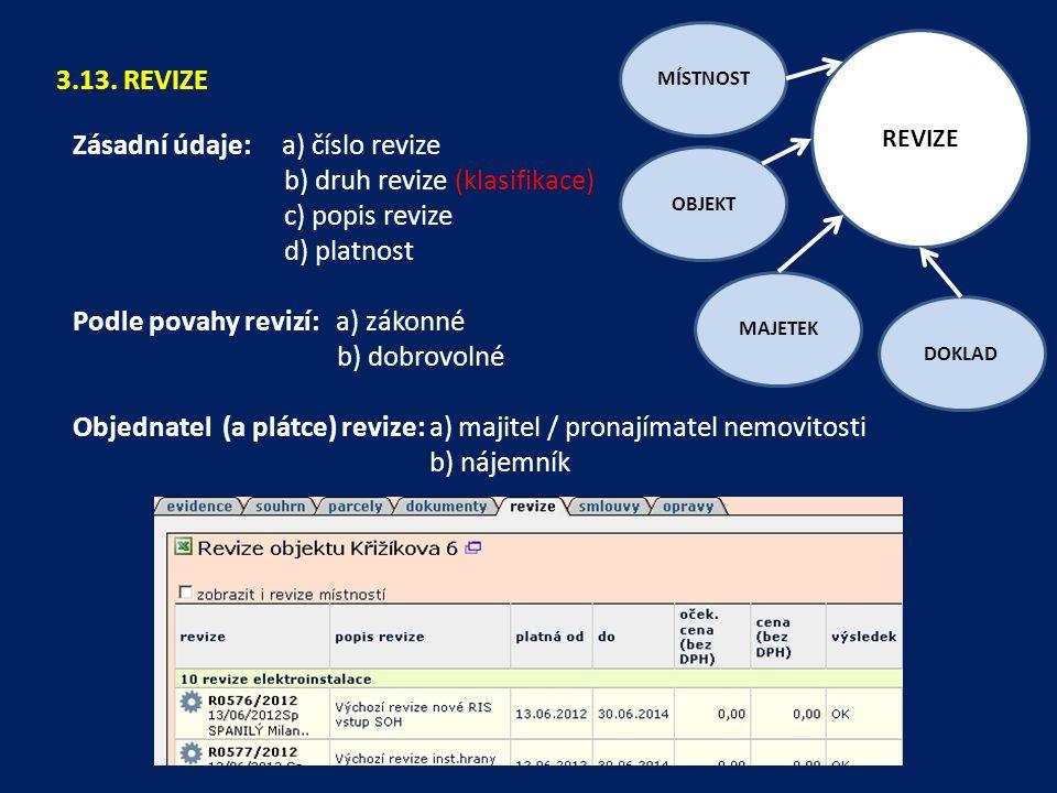 Zásadní údaje: a) číslo revize b) druh revize (klasifikace)