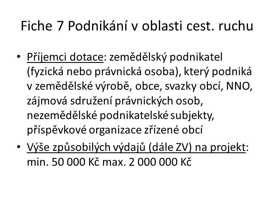 Fiche 7 Podnikání v oblasti cest. ruchu