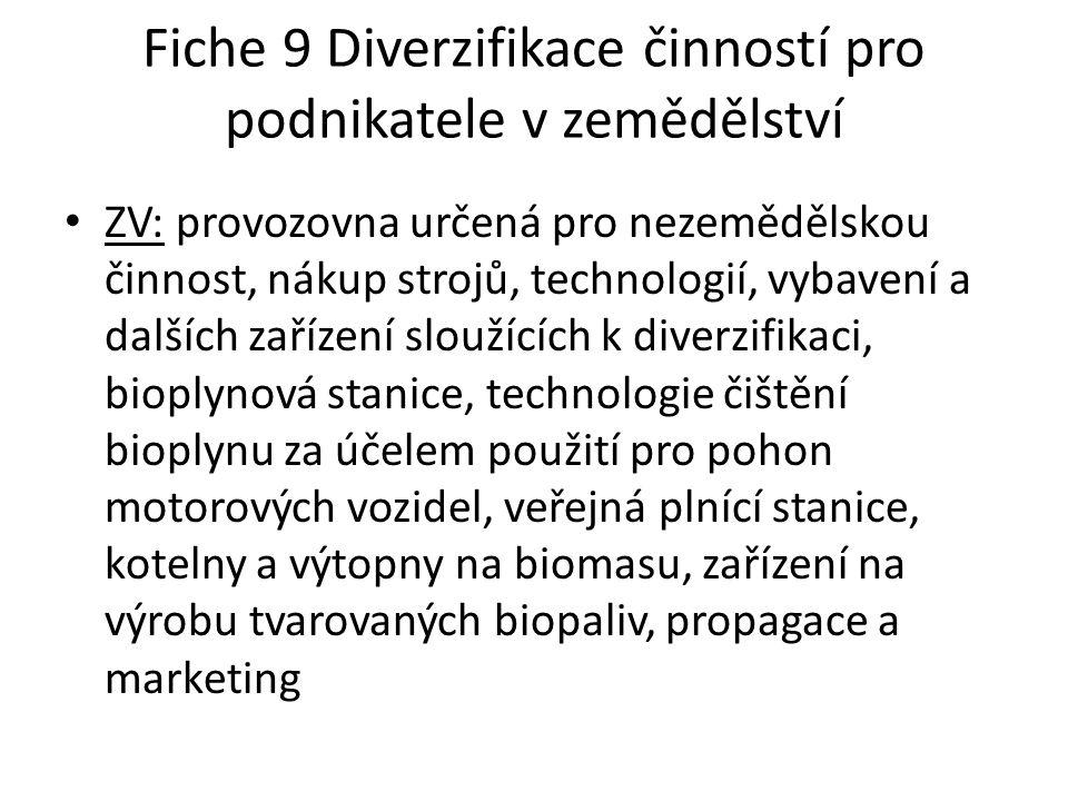 Fiche 9 Diverzifikace činností pro podnikatele v zemědělství