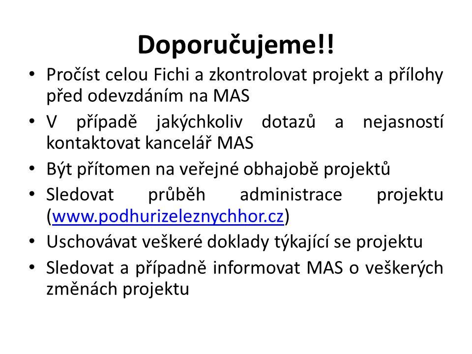 Doporučujeme!! Pročíst celou Fichi a zkontrolovat projekt a přílohy před odevzdáním na MAS.