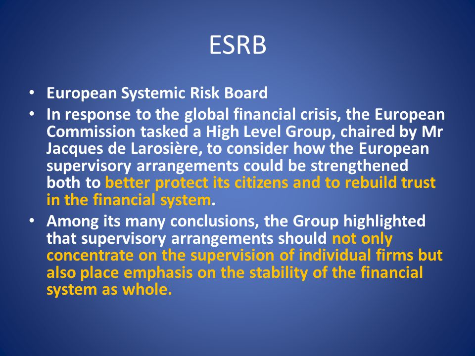 ESRB European Systemic Risk Board