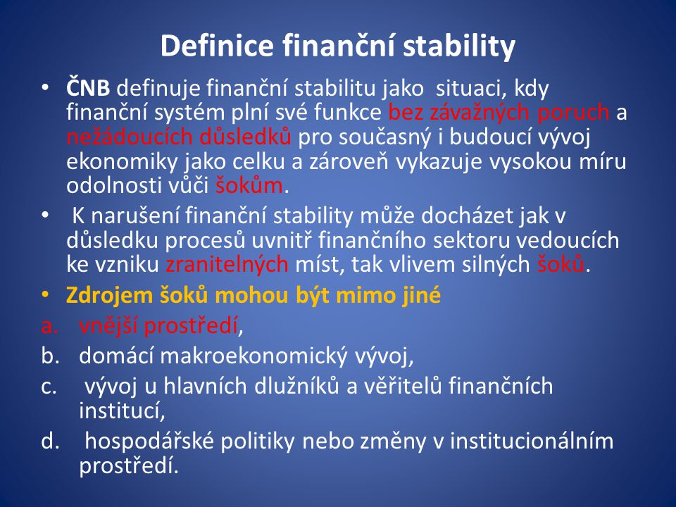 Definice finanční stability