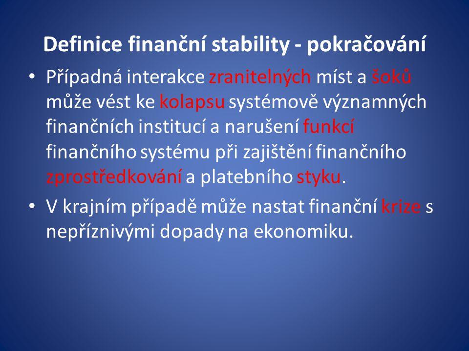 Definice finanční stability - pokračování
