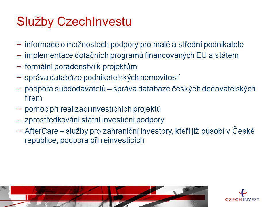Služby CzechInvestu informace o možnostech podpory pro malé a střední podnikatele. implementace dotačních programů financovaných EU a státem.