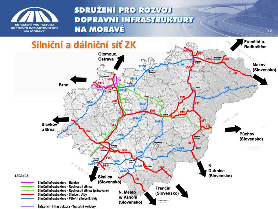 Silniční a dálniční síť ZK