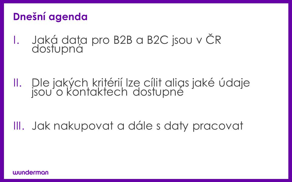 Jaká data pro B2B a B2C jsou v ČR dostupná