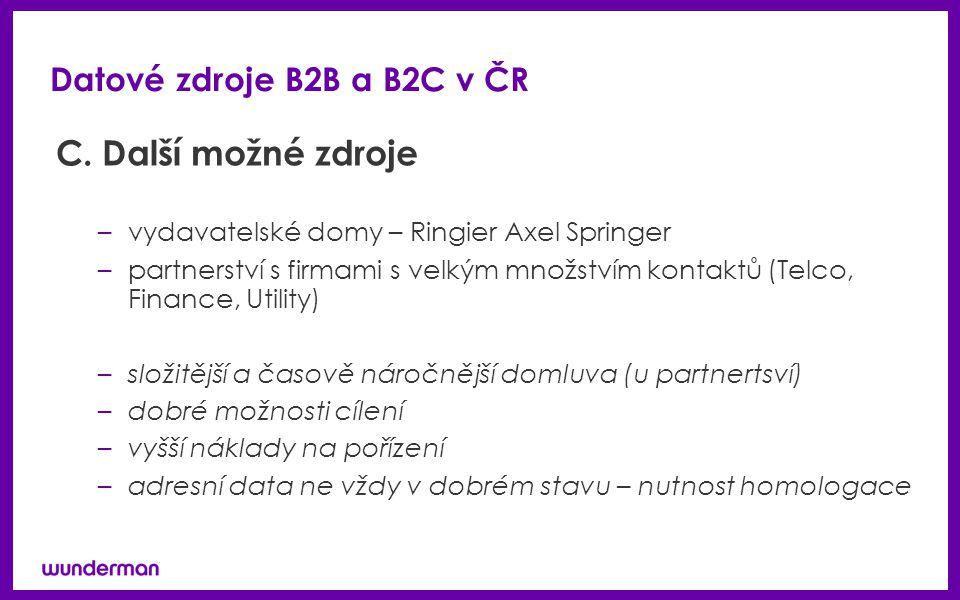 Datové zdroje B2B a B2C v ČR