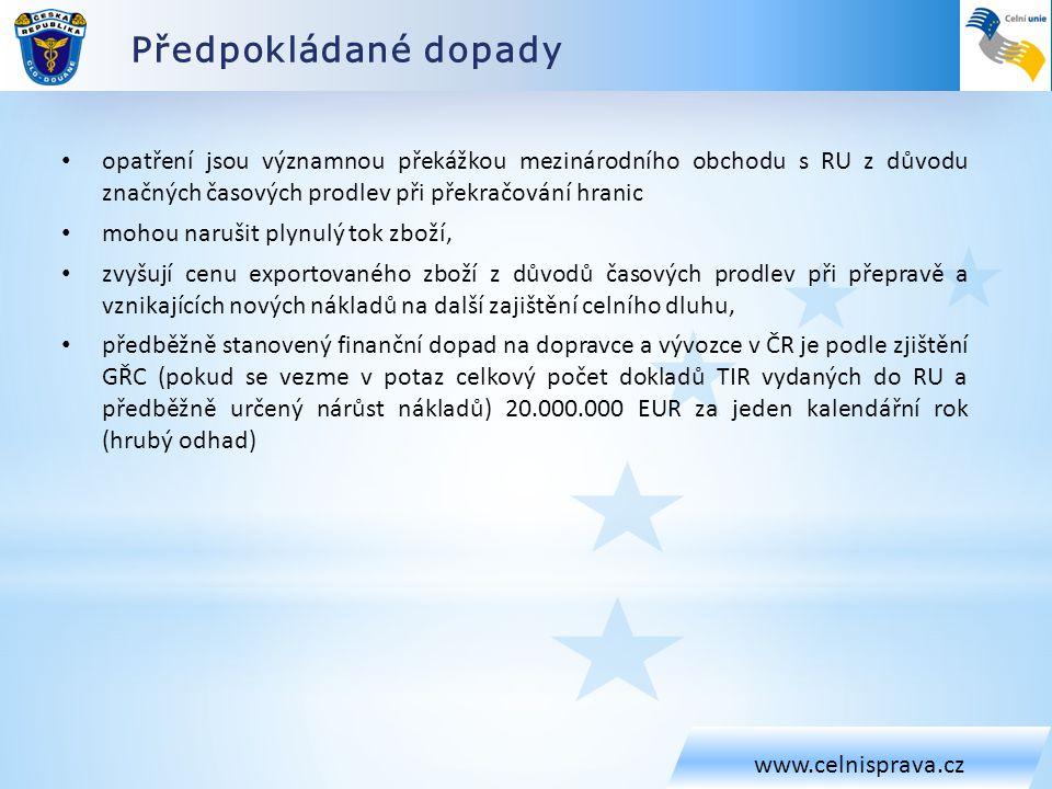 Předpokládané dopady www.celnisprava.cz.
