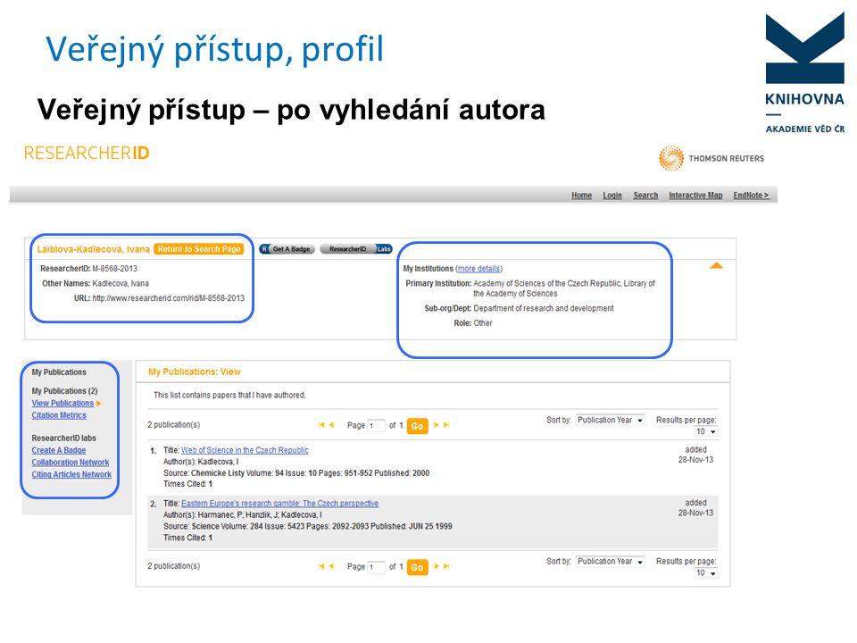 Veřejný přístup, profil