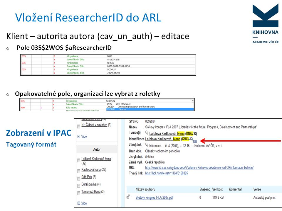 Vložení ResearcherID do ARL