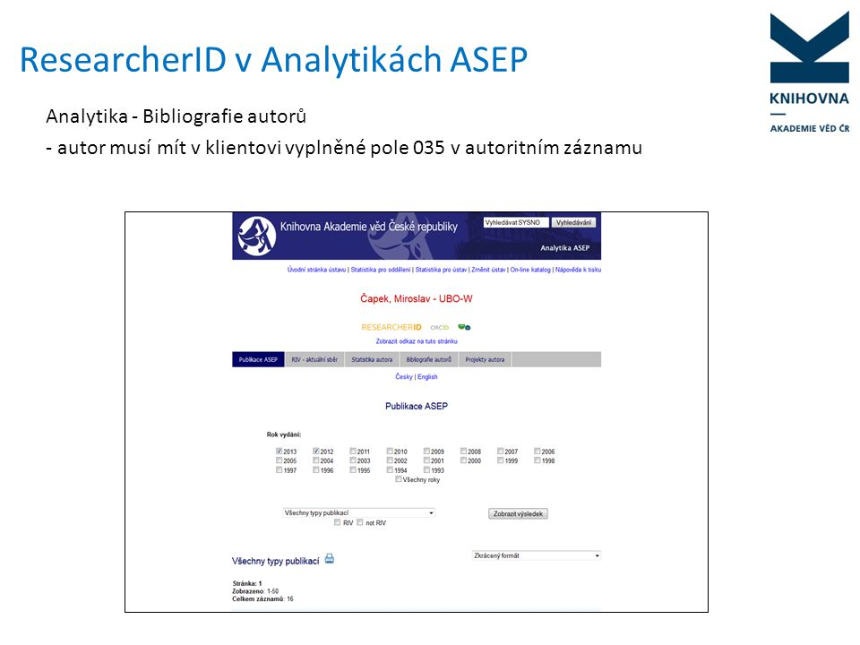 ResearcherID v Analytikách ASEP