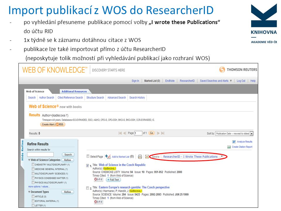 Import publikací z WOS do ResearcherID