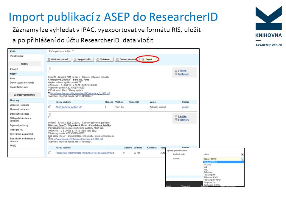 Import publikací z ASEP do ResearcherID