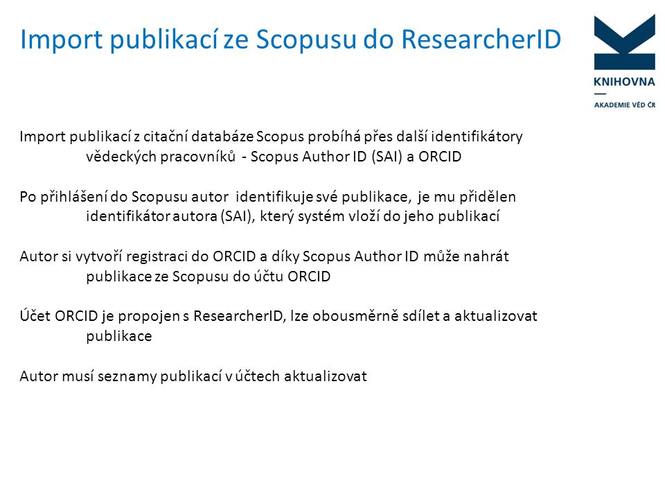 Import publikací ze Scopusu do ResearcherID