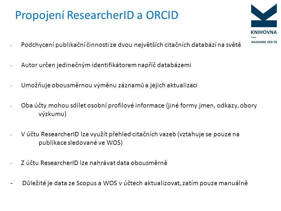 Propojení ResearcherID a ORCID