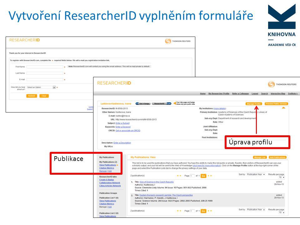 Vytvoření ResearcherID vyplněním formuláře
