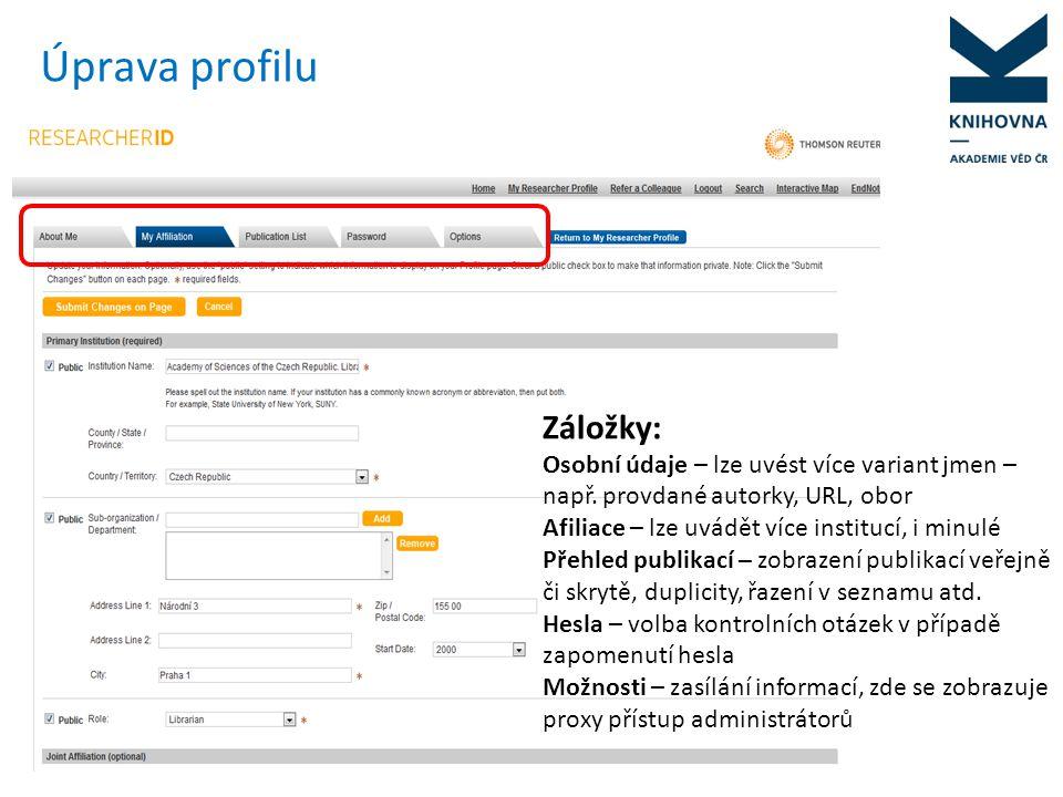 Úprava profilu Záložky: