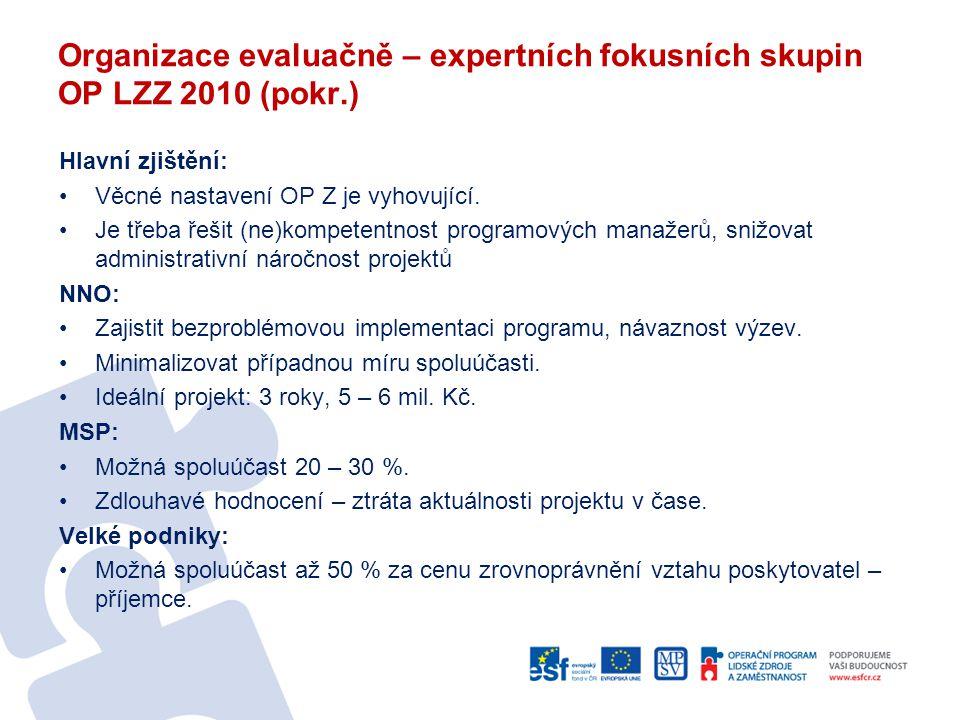 Organizace evaluačně – expertních fokusních skupin OP LZZ 2010 (pokr.)