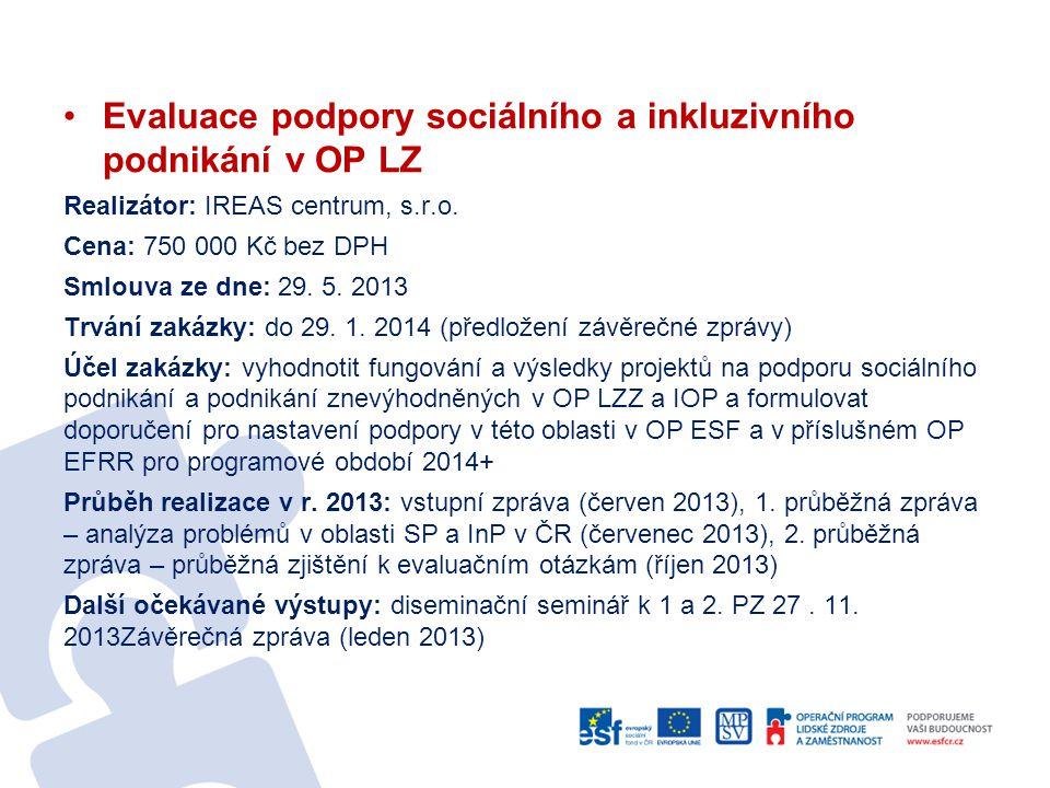 Evaluace podpory sociálního a inkluzivního podnikání v OP LZ