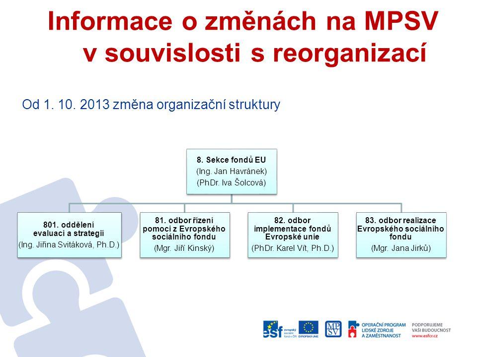 Informace o změnách na MPSV v souvislosti s reorganizací