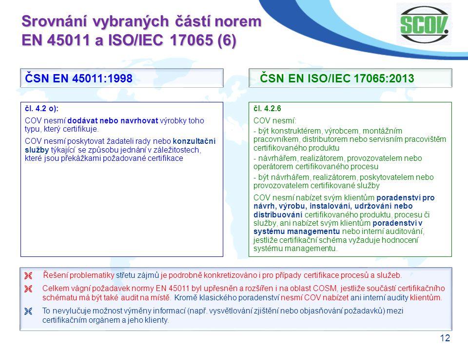 Srovnání vybraných částí norem EN 45011 a ISO/IEC 17065 (6)
