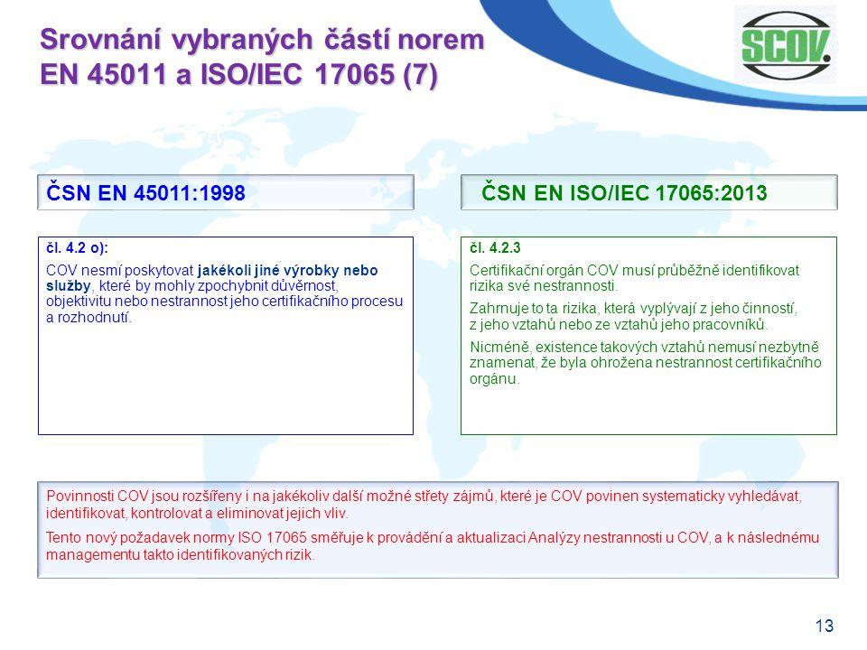 Srovnání vybraných částí norem EN 45011 a ISO/IEC 17065 (7)