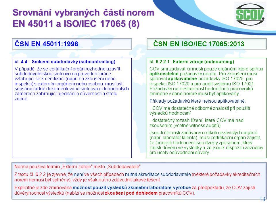 Srovnání vybraných částí norem EN 45011 a ISO/IEC 17065 (8)