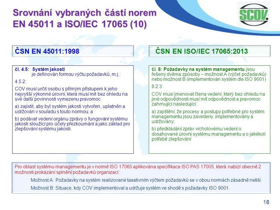 Srovnání vybraných částí norem EN 45011 a ISO/IEC 17065 (10)