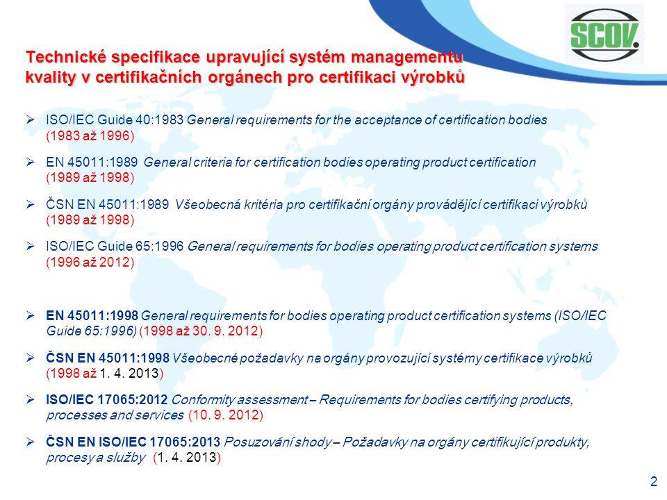Technické specifikace upravující systém managementu kvality v certifikačních orgánech pro certifikaci výrobků